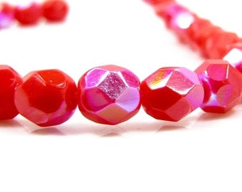 Czech Glass Fire Polished  Beads, 6mm,  Faceted Round , Coral AB. Qty 30