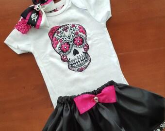 Olivia Paige - Little sugar skull rockabilly punk rock outfit/ bodysuit with skirt headband Halloween