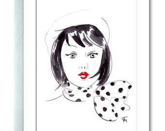 Greeting Card, Chic, Fashionista, Portrait, Beret, Polka Dot, Scarf, Red Lipstick, Fashion Illustration, Gifts for Her, Black and White, Art
