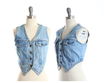 Denim Button Down Cropped Vest size S