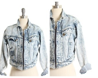 Vtg Acid Wash Collar Denim Jacket size M