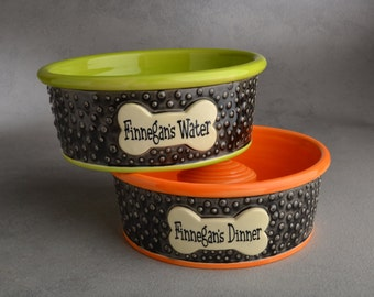 Slow Feeder Personalized Dog Bowl Set Made To Order Dottie Dog Bowls by Symmetrical Pottery