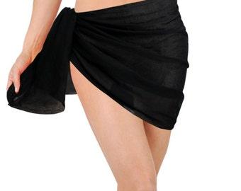 La Leela Sheer Chiffon Solid Color Pareo Beach Swim Sarong Wrap Black-114262