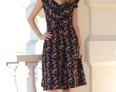 40s style summer dress in black and orange, with a sweet heart neckline, made to order, sizes 0-16