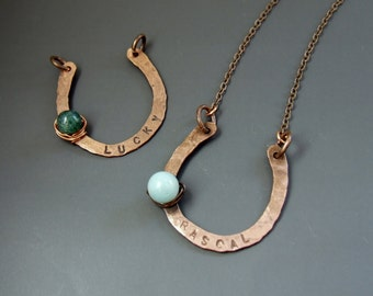 Personalized horseshoe necklace, Good luck stone jewelry, Custom gemstone pendant, equestrian country style jewely