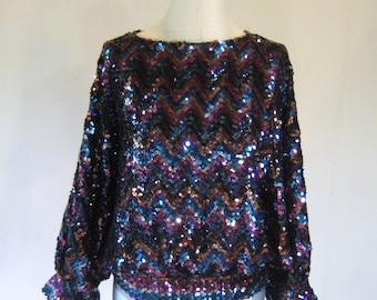Sequin Jewel Tone Large Sleeve Disco Shirt Top Glam