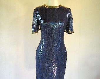 Creative Creations Blue Iridescent Sequin Wiggle Dress
