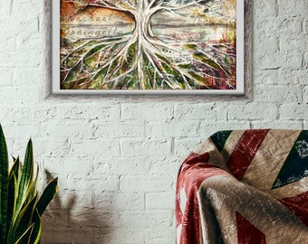 14x17 Giclée Art Print - Tree Of Life -  Large Mixed Media Art Print