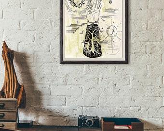 Art Print Meditation - Gyan Mudra Art Print - Aged Looking Art 8x10 print