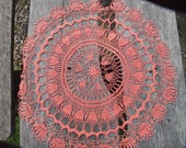 Crochet doily Linen Doily Hand Made Round Doily Coral pink doily white Grey Purple Table Lace Crochet Gift Floral Ornament Home Decoration