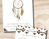 Boho Dreamcatcher Wedding Invitation and Response Card Invitation Suite
