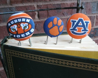 Auburn University Fabric Covered Button Bookmark Jumbo Paperclip