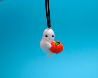 Halloween Ghost with a Pumpkin Ornament  (Made to Order)