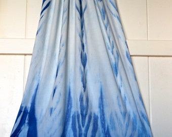 Large Scarf - Wrap - Hand Dyed - Shibori - Indigo Color  - Organic Cotton Soy Spandex Jersey