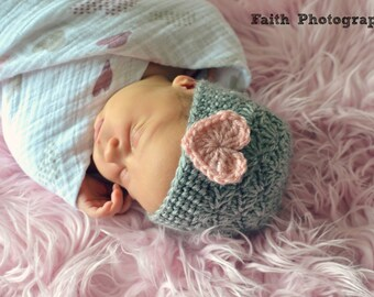 Baby Hat - Crochet Girls Hat - Heart Hat - Toddler Hat - Newborn Hat - Light Gray (Grey) Hat with Heart - in sizes Newborn to 3 Years