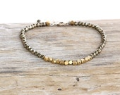 Pyrite Gemstone and Brass Nugget Bracelet - Come Full Circle Bracelet