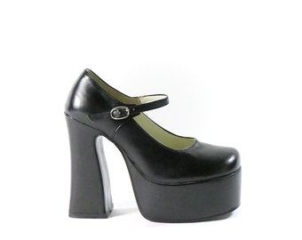 black platforms, high heels, chunky platform,  mary janes  90s goth lolita, womens 6 36
