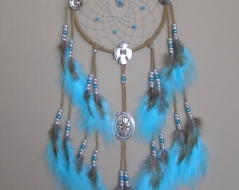SPECIAL SALE! Light Turquoise 7 Inch Ring Thunderbird Concho Dream Catcher
