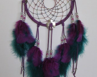 Royal Purple & Green Thunderbird Concho Dream Catcher- 7 inch