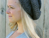 Knitted Slouchy Hat in Granite Grey - Sizes Toddler, Child and Woman- Other colors available