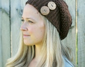 Beautiful Crocheted Slouchy Hat in color Sequoia Brown - Sizes Toddler, Child and Woman