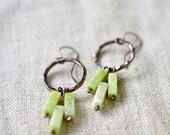 Chandelier copper earrings - chartreuse earrings - boho earth tones jewelry - jasper peridot earrings - artisan jewelry by Alery
