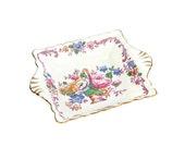 Crown Staffordshire Dish / English Bone China / Plum Floral / Vintage Home Decor / Gift Idea / C1930s
