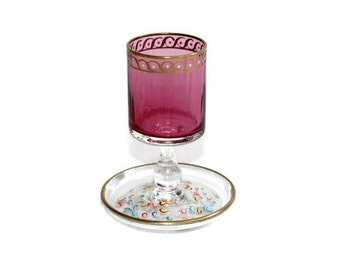 Appetizer Picks Holder / Venetian Style Glass / Handpainted / Cranberry Pink Glass with Gold Accents / c1980s