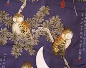 Alexander Henry Tsukiyo 3 Yds Fabric Cotton Asian Owls in Pines RARE 3 Yards Yardage
