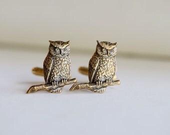 Men's Cufflinks Owl Antiqued Brass Vintage Style  Fashion Accessories