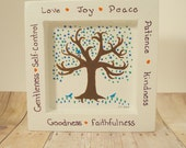 Fruits of the Spirit hand painted wood art Christian scripture home decor