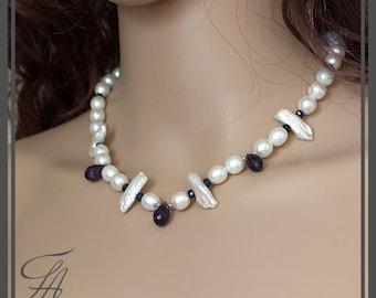 Artisan Baroque Biwa Pearl Necklace, Amethyst Blue Sapphire Necklace, Sterling Silver Necklace, Bridesmaid Wedding Handmade