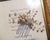 Wedding hair comb, Bridal hair accessory, Champagne hair comb, Pearl/Rhinestone hair comb, YOUR CHOICE COLOR, Wedding hair accessory,Vintage
