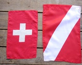 Red and White Flag - Swiss Cross - Diver Down Set of 2 Flags