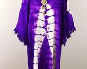 70's Purple Tie Dye vintage cotton caftan/ 1970's Hippie Fringed Maxi Dress/ one size/ Festival Boho Chic Dress/ S M L
