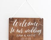 Welcome To Our Wedding Sign, Wedding Sign, Custom Wedding Sign, Welcome Sign, Hanging Wedding Sign, Wood Wall Art, Wood Sign