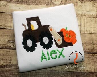 Boy Halloween Shirt, Pumpkin Shirt, Boys Thanksgiving Shirt, Custom Shirt, Pumpkin Truck, Tractor Shirt, Halloween , Thanksgiving