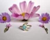 Australian Opal Moon Sterling Silver Ring Size 8