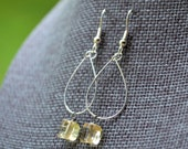 Citrine Gemstone Squares . Silver Hoops . Earrings