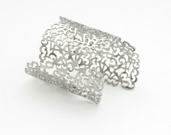 Silver Cuff Bracelet, Wide Cuff Bracelet, Statement Bracelet, Number Bracelet