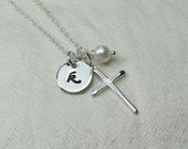 Initial Necklace Silver Cross Necklace Monogram Necklace Personalized Birthstone Necklace Personalized Jewelry Confirmation Baptism Gift