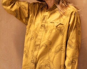 GOLD paisley versace style 90s abstract SURF slouchy WILD baroque oversize blouse shirt