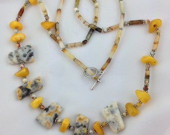 Amber and Lace Agate Necklace