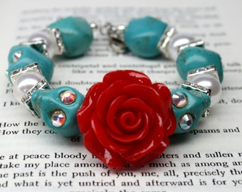 Sugar Skull Bracelet Day of the Dead Bangle Turquoise Red Rose Flower Bridal Jewelry