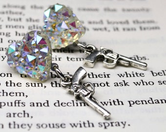 Pistol Earrings Silver Heart  Post Studs Hypoallergenic Silver tone