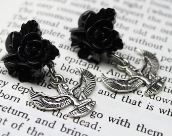 Black Flower Cluster Isis Godess Wing Hypoallergenic Post Stud Earrings