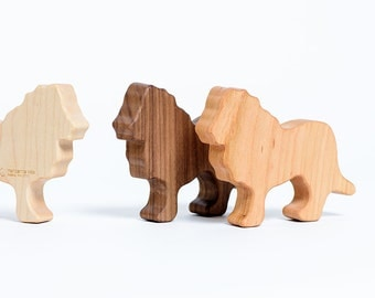 Wooden Lion Baby Rattle // Baby Toy // Organic Baby Teether and Natural Rattle Toy in One // Safe For Sensitive Baby