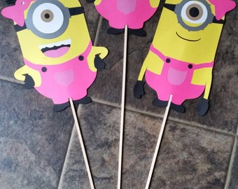 "Minion Girl Birthday Party Centerpieces diecut cardstock set of 3 double sided 11"" with Rhinestones on wooden sticks"