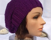 Purple Slouch Hat Purple Slouchy Hat Wool Slouch Hat Knit Slouch Hat Knitted Slouch Hat Purple Hat