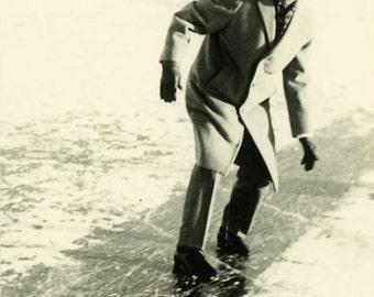 "Vintage Photo ""The Ice Slider"" Winter Snapshot Photo Old Antique Photo Black & White Photograph Found Photo Paper Ephemera Vernacular - 24"